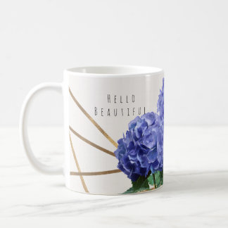 Hydrangea & Gold Elegant Floral Personalized Coffee Mug