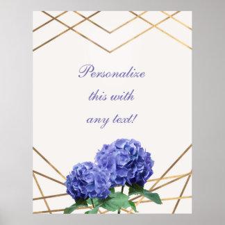 Hydrangea & Gold Elegant Floral Wedding Banner Poster