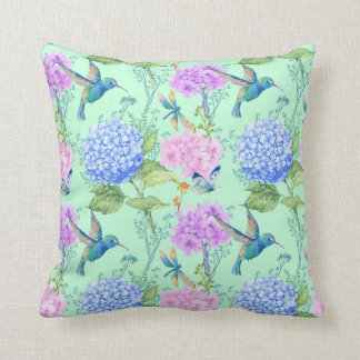 Hydrangea hummingbird lavender blue mint green cushion