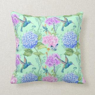 Hydrangea hummingbird lavender blue mint green throw pillow