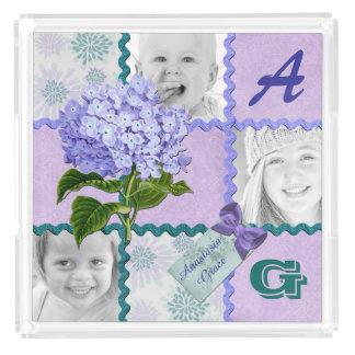 Hydrangea Instagram Photo Quilt Frame Purple Teal Acrylic Tray