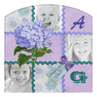 Hydrangea Instagram Photo Quilt Frame Purple Teal Door Sign