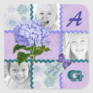 Hydrangea Instagram Photo Quilt Frame Purple Teal Square Sticker