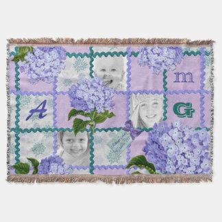 Hydrangea Instagram Photo Quilt Frame Purple Teal Throw Blanket