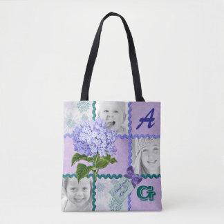 Hydrangea Instagram Photo Quilt Frame Purple Teal Tote Bag