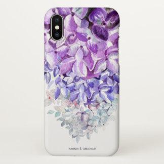 Hydrangea Lavender Blue White Ombre | Personalized iPhone X Case
