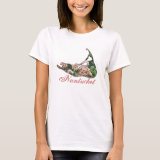 Hydrangea Map of Nantucket Island T-Shirt