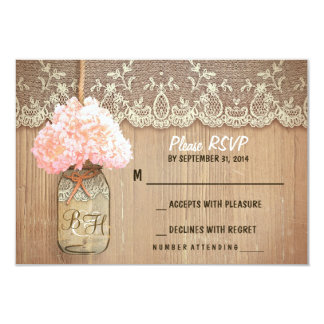 hydrangea mason jar rustic wedding RSVP cards 9 Cm X 13 Cm Invitation Card