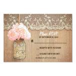 hydrangea mason jar rustic wedding RSVP cards Personalized Invitations
