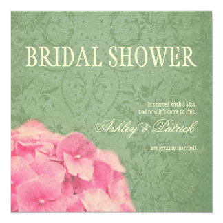 Hydrangea on Baroque Texture Bridal Shower Card