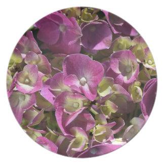 Hydrangea Pink Melamine Plate