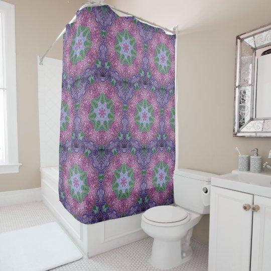 Hydrangea Star Pattern Shower Curtain