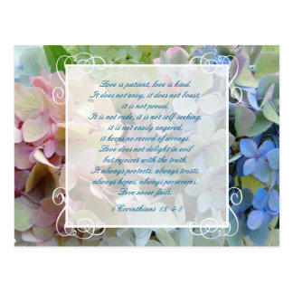 Hydrangea Wedding Save the Date Postcard Scripture