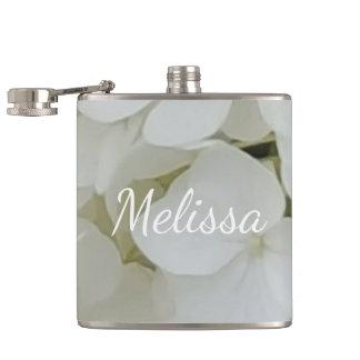 Hydrangea White Flowers Blossom Elegant Floral Hip Flask