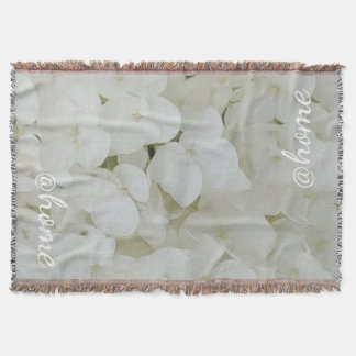 Hydrangea White Flowers Blossom Elegant Floral Throw Blanket