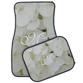 Hydrangea White Flowers Floral Custom Monogram M Car Mat