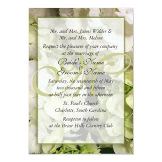 "Hydrangea White Green Wedding Suite 5"" X 7"" Invitation Card"