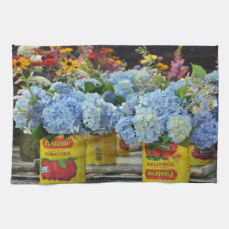 Hydrangeas and Fresh Flowers in Tomato Cans Tea Towel