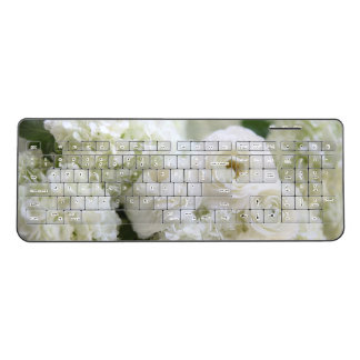 Hydrangeas and ranunculus wireless keyboard