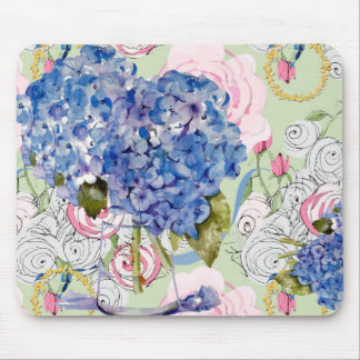 Hydrangeas and roses mouse pad