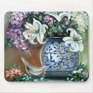Hydrangeas and White Lillies Mouse Pad