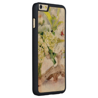 Hydrangeas Bella Watercolo iPhone 6 Plus Slim Wood Carved Maple iPhone 6 Plus Case