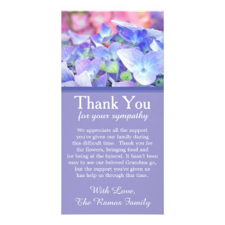 Hydrangeas Bereavement Sympathy Thank You Card Custom Photo Card