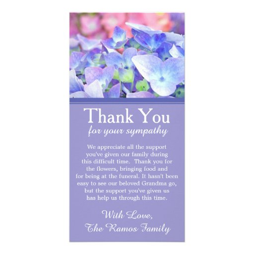 Hydrangeas Bereavement Sympathy Thank You Card Photo Card