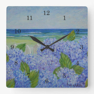Hydrangeas By The Sea Wall Clock