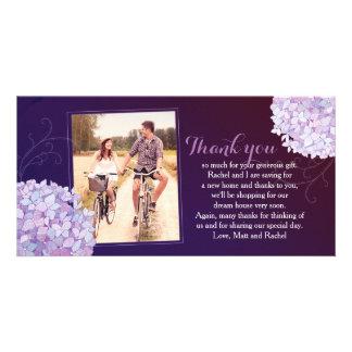 Hydrangeas Deep Purple Wedding Photo Thank You Card