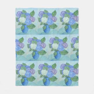 Hydrangeas in A Vase Fleece Blanket
