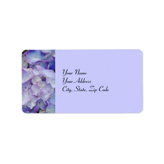 Hydrangeas in mauve, address lables address label
