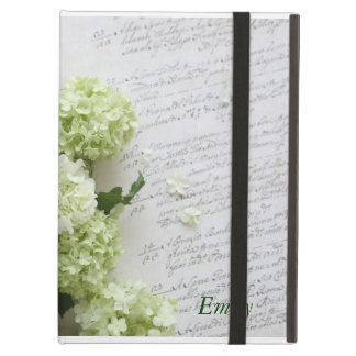 hydrangeas with script writing iPad kickstand case