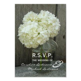 Hydranges & Barnwood Wedding RSVP Card