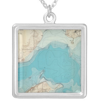 Hydrographic map Lake Mendota Silver Plated Necklace