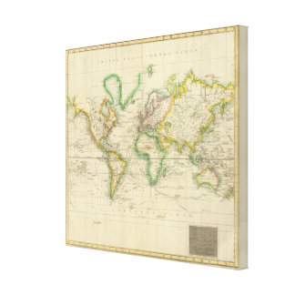 Hydrographical chart of the World Canvas Prints
