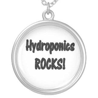 Hydroponics rocks! Black rock text design Round Pendant Necklace
