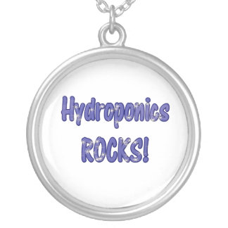 Hydroponics Rocks! Text based cloud water design Round Pendant Necklace