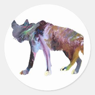 Hyena art classic round sticker