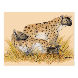 Hyena Family Postcard