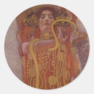 Hygeia by Gustav Klimt Classic Round Sticker