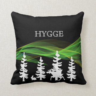 Hygge forest in black white and northern lights throw pillow