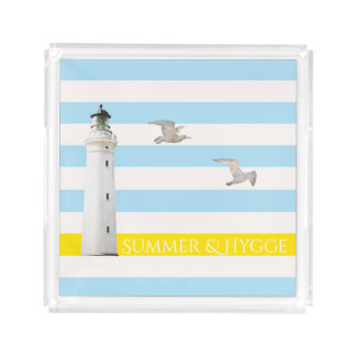 Hygge on blue white nautical stripes lighthouse acrylic tray