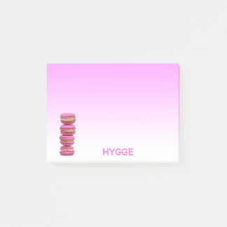 Hygge with macarons on pink and white post-it notes