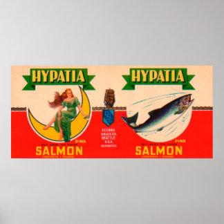 Hypatia Brand Salmon Label- Seattle, WA Poster