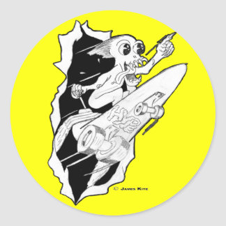 HYPE: Rocket Powered Skateboard Classic Round Sticker