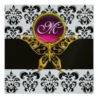 HYPER BUTTERFLY MONOGRAM,black white damask, pink Custom Invites