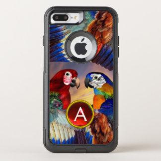 HYPER PARROTS /RED AND BLUE ARA GEMSTONE MONOGRAM OtterBox COMMUTER iPhone 8 PLUS/7 PLUS CASE