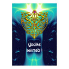 HYPER VALENTINE/GOLD CELTIC HEART bright aqua blue Card