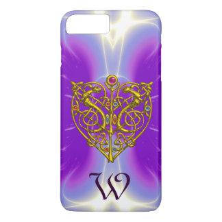 HYPER VALENTINE GOLD CELTIC HEART MONOGRAM Purple iPhone 8 Plus/7 Plus Case
